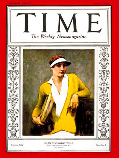 Roaring Twenties 1929-07 Helen Wills Copyright Time Magazine | Roaring 1920s Ad Art and Magazine Cover Art