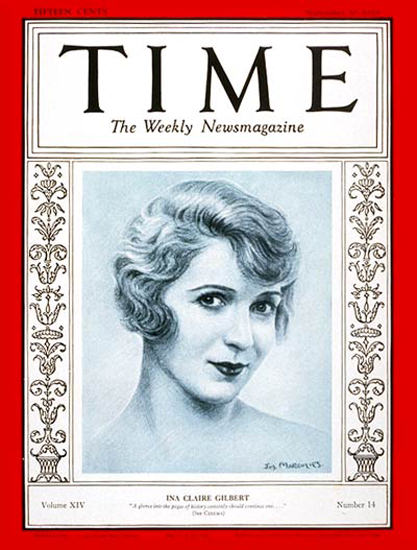 Roaring Twenties 1929-09 Ina Claire Gilbert Copyright Time Magazine | Roaring 1920s Ad Art and Magazine Cover Art
