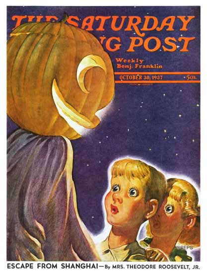 Robert B Velie Saturday Evening Post Trick or Treaters 1937_10_30 | The Saturday Evening Post Graphic Art Covers 1931-1969