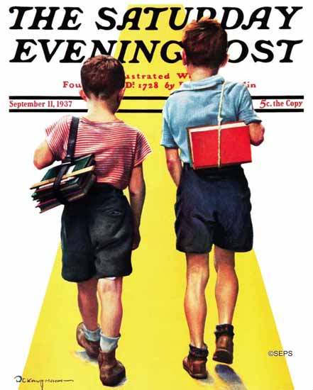 Robert C Kauffmann Saturday Evening Post Back to School 1937_09_11 | The Saturday Evening Post Graphic Art Covers 1931-1969