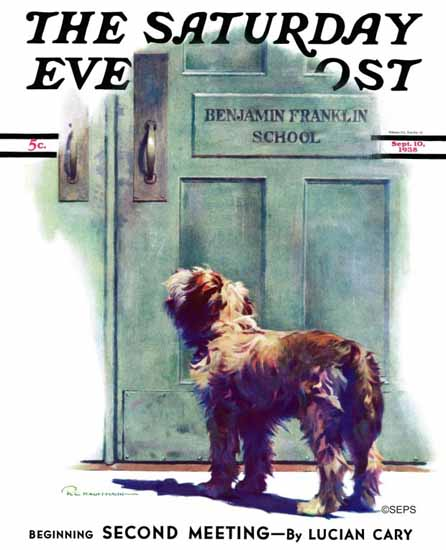 Robert C Kauffmann Saturday Evening Post Dog Waiting 1938_09_10 | The Saturday Evening Post Graphic Art Covers 1931-1969
