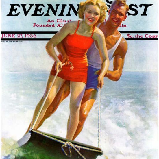 Robert C Kauffmann Saturday Evening Post Ski 1936_06_27 Copyright crop | Best of Vintage Cover Art 1900-1970