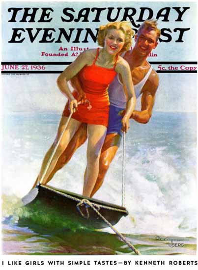 Robert C Kauffmann Saturday Evening Post Ski Boarding 1936_06_27 | The Saturday Evening Post Graphic Art Covers 1931-1969