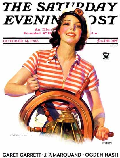 Robert C Kauffmann Saturday Evening Post Woman Takes 1933_10_14 | The Saturday Evening Post Graphic Art Covers 1931-1969