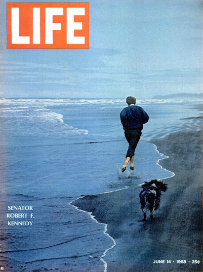 Robert F Kennedy and Dog at Beach 14 Jun 1968 Copyright Life Magazine | Life Magazine Color Photo Covers 1937-1970