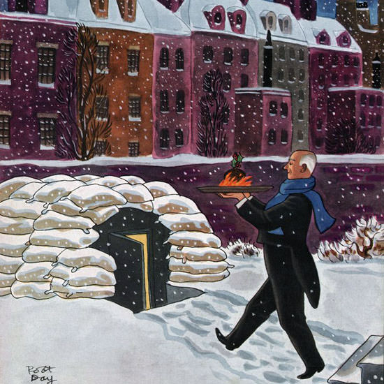 Robert James Day The New Yorker 1940_12_21 Copyright crop | Best of Vintage Cover Art 1900-1970