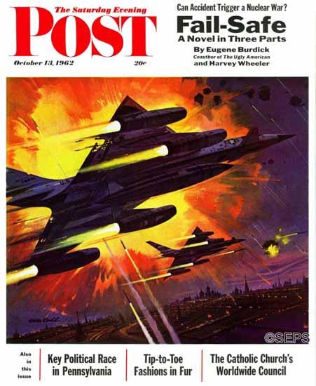 Robert McCall Saturday Evening Post Failsafe 1962_10_13 | The Saturday Evening Post Graphic Art Covers 1931-1969