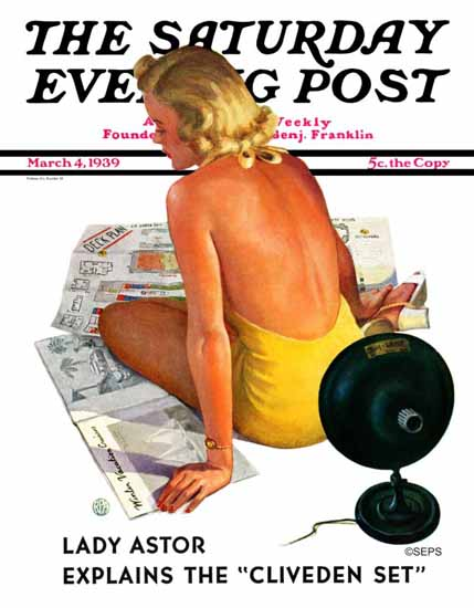 Robert P Archer Saturday Evening Post Girl and Sunlamp 1939_03_04   The Saturday Evening Post Graphic Art Covers 1931-1969
