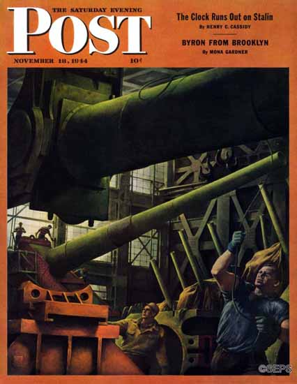 Robert Riggs Saturday Evening Post Gun Factory 1944_11_18 | The Saturday Evening Post Graphic Art Covers 1931-1969