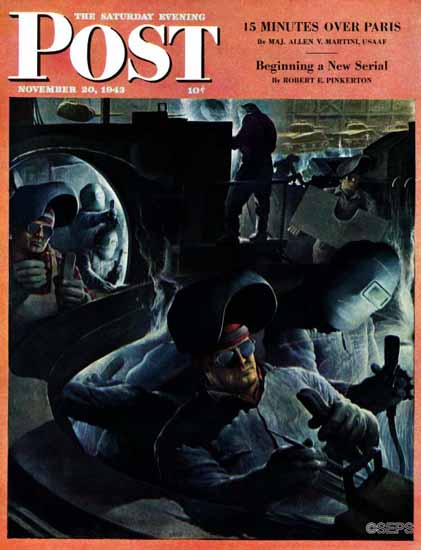 Robert Riggs Saturday Evening Post Tank Factory 1943_11_20 | The Saturday Evening Post Graphic Art Covers 1931-1969