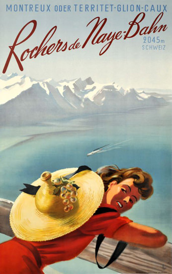 Rochers De Naye-Bahn Montreux 1950s | Sex Appeal Vintage Ads and Covers 1891-1970