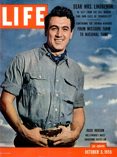 Rock Hudson the handsome Bachelor 3 Oct 1955 Copyright Life Magazine | Life Magazine Color Photo Covers 1937-1970