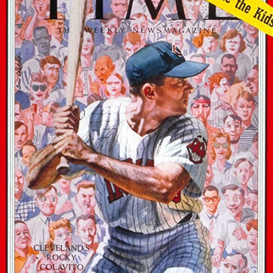 Rocky Colavito Time Magazine 1959-08 by Boris Chaliapin crop | Best of Vintage Cover Art 1900-1970