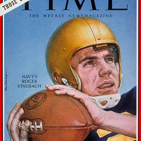 Roger Staubach Time Magazine 1963-10 by Boris Chaliapin crop | Best of Vintage Cover Art 1900-1970