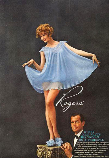 Rogers Lingerie On A Pedestal Babydoll Blue   Sex Appeal Vintage Ads and Covers 1891-1970