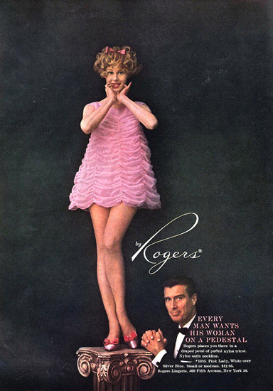 Rogers Lingerie On A Pedestal Babydoll Pink | Sex Appeal Vintage Ads and Covers 1891-1970