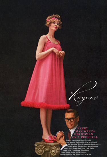 Rogers Lingerie On A Pedestal Red Chemise   Sex Appeal Vintage Ads and Covers 1891-1970