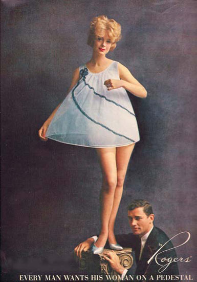Rogers Lingerie Woman On A Pedestal Babydoll | Sex Appeal Vintage Ads and Covers 1891-1970