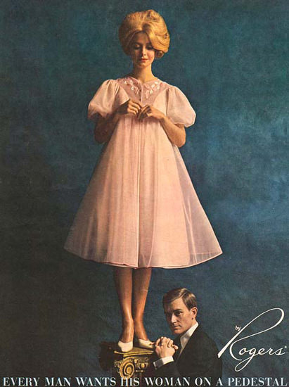Rogers Lingerie Woman On A Pedestal Chemise | Sex Appeal Vintage Ads and Covers 1891-1970