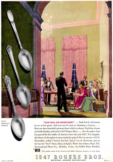 Rogers Silverplate Party She Entertains 1934 | Vintage Ad and Cover Art 1891-1970