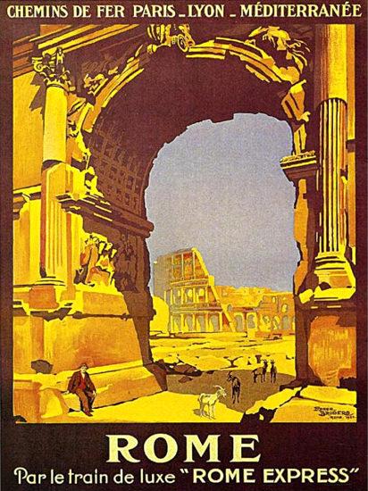 Rome Par Le Train De Luxe Rome Express 1921 | Vintage Travel Posters 1891-1970