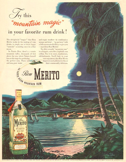Ron Merito Puerto Rican Mountain Rum 1945 | Vintage Ad and Cover Art 1891-1970