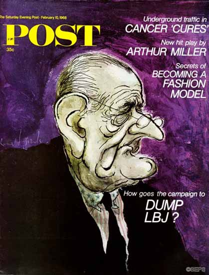 Ronald Searle Cover Artist Saturday Evening Post1968_02_10 | The Saturday Evening Post Graphic Art Covers 1931-1969