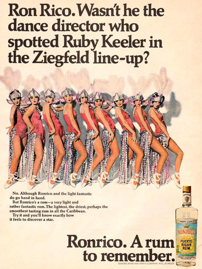 Ronrico Rum Ruby Keeler Ziegfeld Line-Up 1967 | Sex Appeal Vintage Ads and Covers 1891-1970