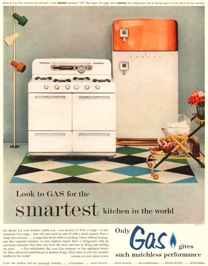 Roper Gas Kitchen 1954 | Vintage Ad and Cover Art 1891-1970