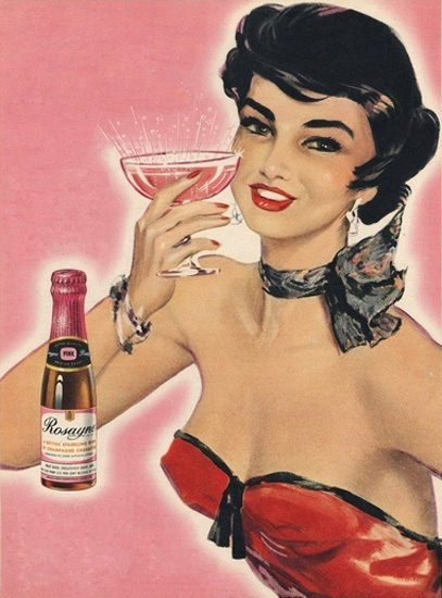 Rosayne Sparkling Wine Pin-Up Girl | Sex Appeal Vintage Ads and Covers 1891-1970