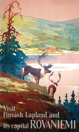 Rovaniemi Capital Of Finnish Lapland 1950 | Vintage Travel Posters 1891-1970