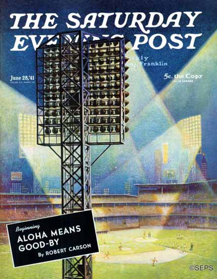 Roy Hilton Saturday Evening Post Baseball Stadium at Night 1941_06_28 | The Saturday Evening Post Graphic Art Covers 1931-1969