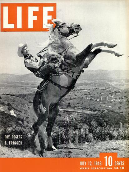 Roy Rogers and Trigger 12 Jul 1943 Copyright Life Magazine | Life Magazine BW Photo Covers 1936-1970