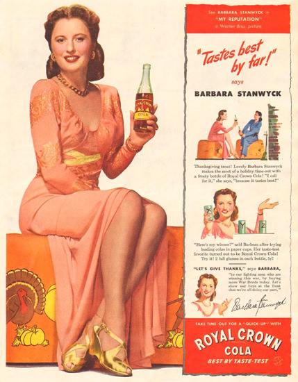 Royal Crown Cola Girl 1944 | Sex Appeal Vintage Ads and Covers 1891-1970