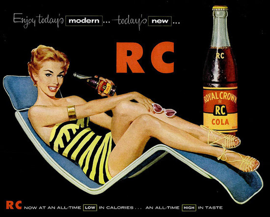 Royal Crown Cola RC Girl Low Calories High Taste | Sex Appeal Vintage Ads and Covers 1891-1970