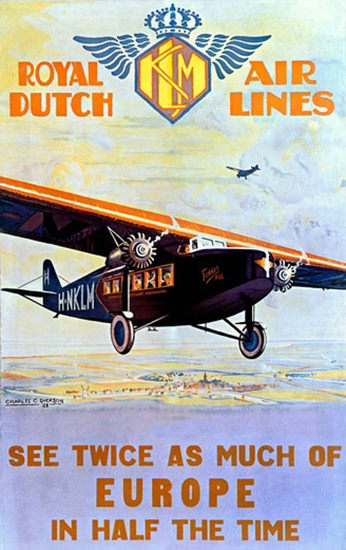 Royal Dutch Airlines KLM Twice As Much Europe | Vintage Travel Posters 1891-1970