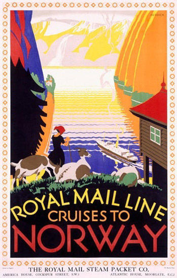 Royal Mail Line Cruises To Norway Herrick | Vintage Travel Posters 1891-1970