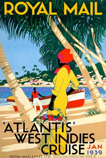 Royal Mail Lines Atlantis West Indies Cruise 1939 | Vintage Travel Posters 1891-1970