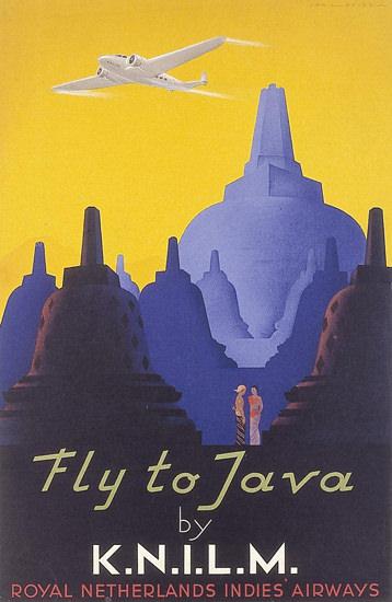Royal-Netherlands-Indies-Airways Java 1938 | Vintage Travel Posters 1891-1970