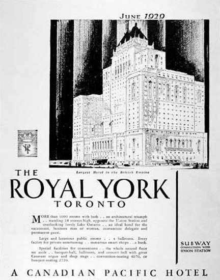 Royal York Toronto 1929 Canadian Pacific Hotel | Vintage Travel Posters 1891-1970