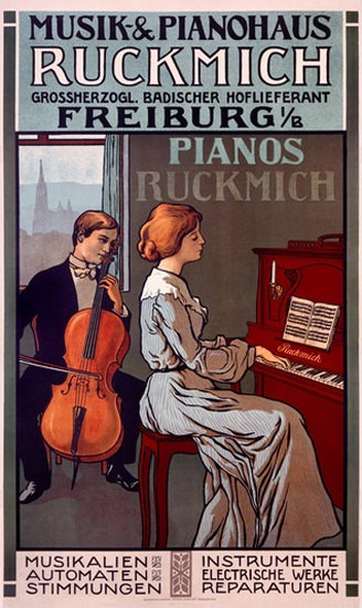 Ruckmich Musik Pianohaus Freiburg Pianos | Vintage Ad and Cover Art 1891-1970