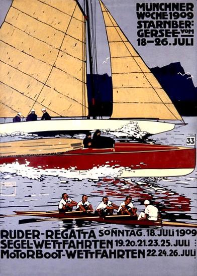 Ruder-Regatta Muenchen Starnbergersee 1909 | Vintage Ad and Cover Art 1891-1970
