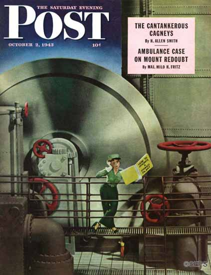 Russell Patterson Saturday Evening Post Operate Power Plant 1943_10_02 | The Saturday Evening Post Graphic Art Covers 1931-1969