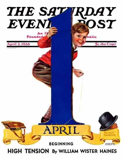 Russell Sambrook Saturday Evening Post April Fools Day 1938_04_02 | The Saturday Evening Post Graphic Art Covers 1931-1969