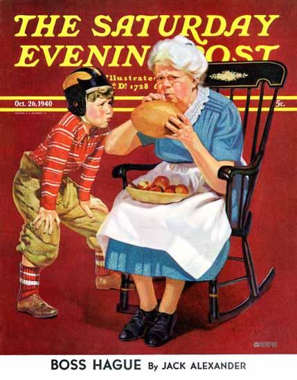 Russell Sambrook Saturday Evening Post Grandma Football 1940_10_26   The Saturday Evening Post Graphic Art Covers 1931-1969