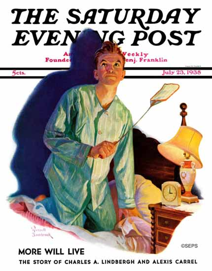 Russell Sambrook Saturday Evening Post Nighttime Fly Fight 1938_07_23 | The Saturday Evening Post Graphic Art Covers 1931-1969