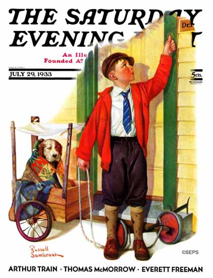 Russell Sambrook Saturday Evening Post Sick Pooch 1933_07_29 | The Saturday Evening Post Graphic Art Covers 1931-1969