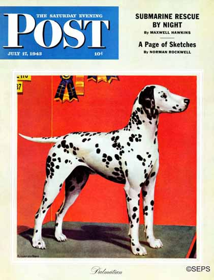 Rutherford Boyd Saturday Evening Post Dalmatians 1943_07_17 | The Saturday Evening Post Graphic Art Covers 1931-1969