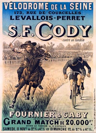 S F Cody Vs Tandem Fournier Gaby Velodrome   Vintage Ad and Cover Art 1891-1970