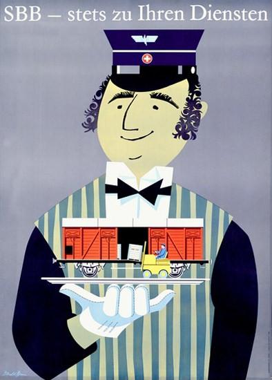 SBB Stets Zu Ihren Diensten Swiss Railroad Brun | Vintage Travel Posters 1891-1970